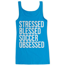 Soccer Women's Athletic Tank Top - Stressed Blessed Soccer Obsessed