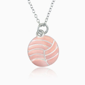 Silver Enameled Volleyball Necklace