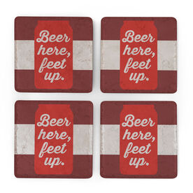 Stone Coasters Set of Four - Beer Here, Feet Up
