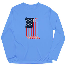 Hockey Long Sleeve Performance Tee - American Flag