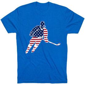 Hockey T-Shirt Short Sleeve - Hockey Stars and Stripes Player