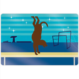 "Gymnastics 18"" X 12"" Aluminum Room Sign - Leo The Gymnastics Dog"