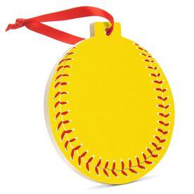 Softball Round Ceramic Ornament - Softball Graphic