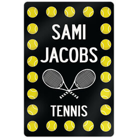 "Tennis Aluminum Room Sign Personalized Tennis Ball Border With Rackets (18"" X 12"")"