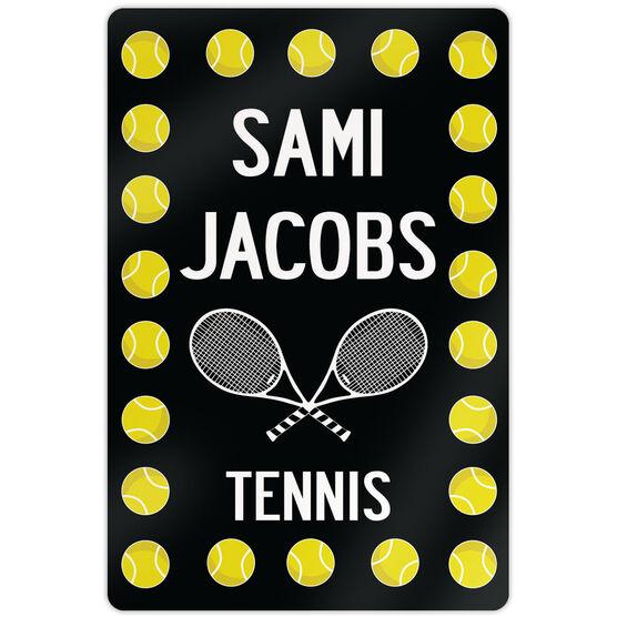 Tennis 18 X 12 Aluminum Room Sign Personalized Tennis Ball Border