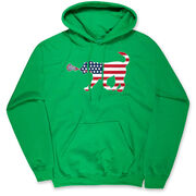 Girls Lacrosse Hooded Sweatshirt - Patriotic LuLa the Lax Dog