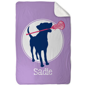 Girls Lacrosse Sherpa Fleece Blanket - Personalized Dog with Stick