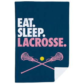 Girls Lacrosse Premium Blanket - Eat. Sleep. Lacrosse. Vertical