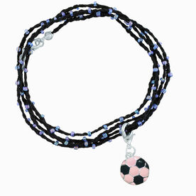 Soccer Beaded Wrap Bracelet with Enamel Pink Soccer Charm