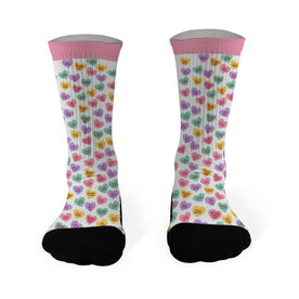 Running Printed Mid Calf Socks Candy Heart Pattern