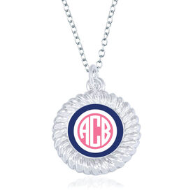 Personalized Braided Circle Necklace - Simple Monogram