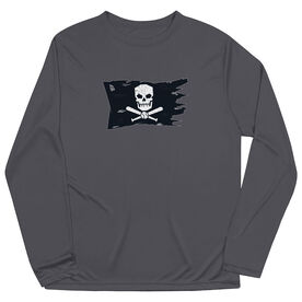Baseball Long Sleeve Performance Tee - Baseball Pirate Flag