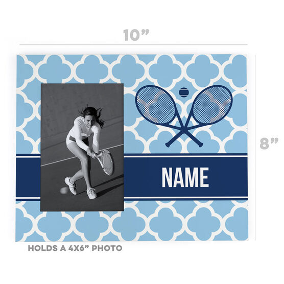 Tennis Photo Frame - Personalized Rackets Quatrefoil