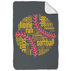 Softball Sherpa Fleece Blanket Softball Inspiration Words