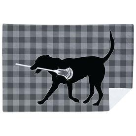 Guys Lacrosse Premium Blanket - Max The Lax Dog Plaid