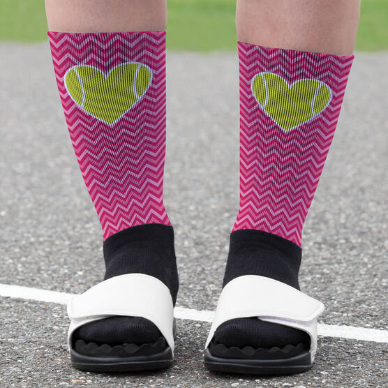 Tennis Printed Mid-Calf Socks - Chevron Tennis Heart