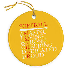 Softball Porcelain Ornament - Mother Words