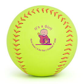 Personalized Softball - Birth Announcement Cartoon