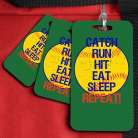 Softball Bag/Luggage Tag Catch Run Hit Eat Sleep Repeat