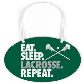 Guys Lacrosse Oval Sign - Eat. Sleep. Lacrosse. Repeat.
