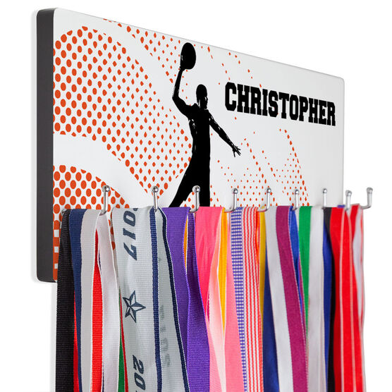 Basketball Hooked on Medals Hanger - Halftone Sunrise