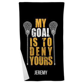 Lacrosse Beach Towel Personalized My Goal Is To Deny Yours