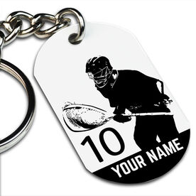 Lacrosse Printed Dog Tag Keychain Personalized Lacrosse Goalie