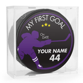 Personalized My First Goal Player Silhouette Hockey Puck