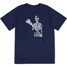Guys Lacrosse Short Sleeve Performance Tee - Skeleton (White)