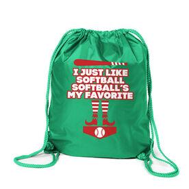 Softball Sport Pack Cinch Sack - I Just Like Softball