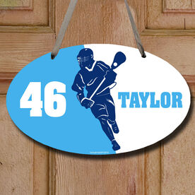 Lacrosse Oval Room Sign Personalized Lacrosse Player Silhouette