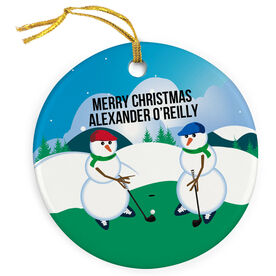 Golf Porcelain Ornament Swing Snowmen