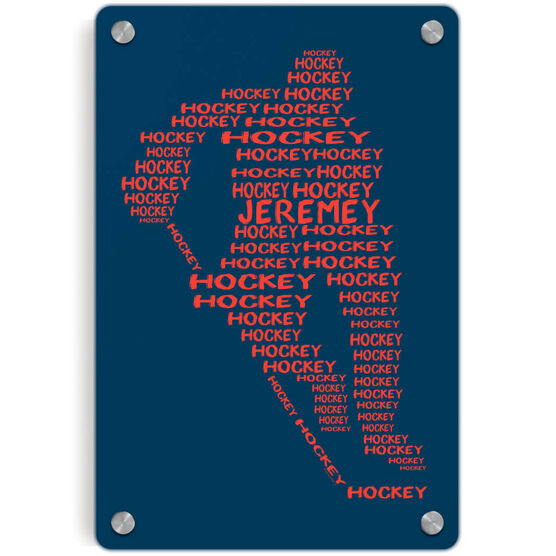 Hockey Metal Wall Art Panel - Personalized Hockey Words