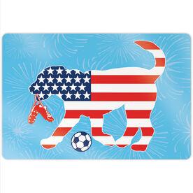 "Soccer 18"" X 12"" Aluminum Room Sign - Patriotic Sammy The Soccer Dog"