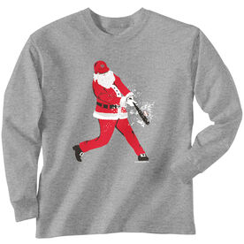 Baseball T-Shirt Long Sleeve Home Run Santa