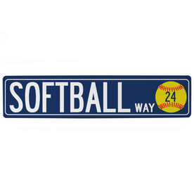 "Softball Aluminum Room Sign - Softball Way With Number (4""x18"")"