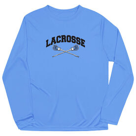 Guys Lacrosse Long Sleeve Performance Tee - Crossed Sticks