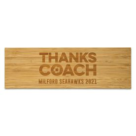 """Soccer 12.5"""" X 4"""" Engraved Bamboo Removable Wall Tile - Thanks Coach"""
