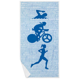 Triathlon Premium Beach Towel - Swim Bike Run Inspiration Female