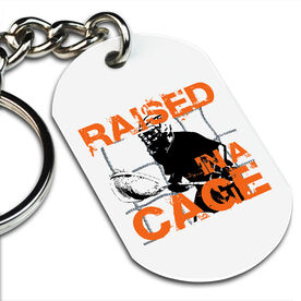 Lacrosse Printed Dog Tag Keychain Raised In A Cage Lacrosse