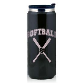 Stainless Steel Travel Mug Softball Crossed Bats