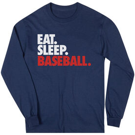 Baseball T-Shirt Long Sleeve Eat. Sleep. Baseball.