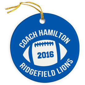 Football Porcelain Ornament Personalized Thanks Coach