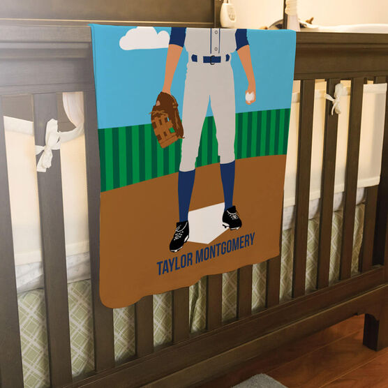 Baseball Baby Blanket - Baseball Player