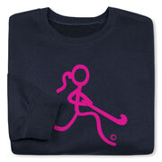 Field Hockey Crew Neck Sweatshirt - Neon Pink Field Hockey Girl