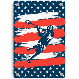 Guys Lacrosse Metal Wall Art Panel - USA Laxer