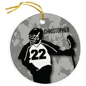 Guys Lacrosse Porcelain Ornament Personalized Lacrosse Player with Jersey Number