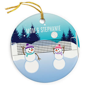 Volleyball Porcelain Ornament Snowman Mother & Child