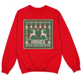 Hockey Crew Neck Sweatshirt - Hockey Christmas Knit