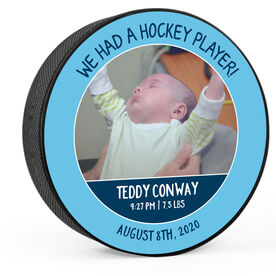Personalized Hockey Puck - We Had A Hockey Player (Boy)